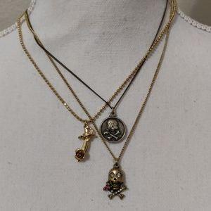 Betsey Johnson skull Rose necklace